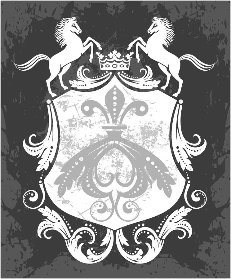 Quadro decorativo com coroa e cavalos ilustração royalty free