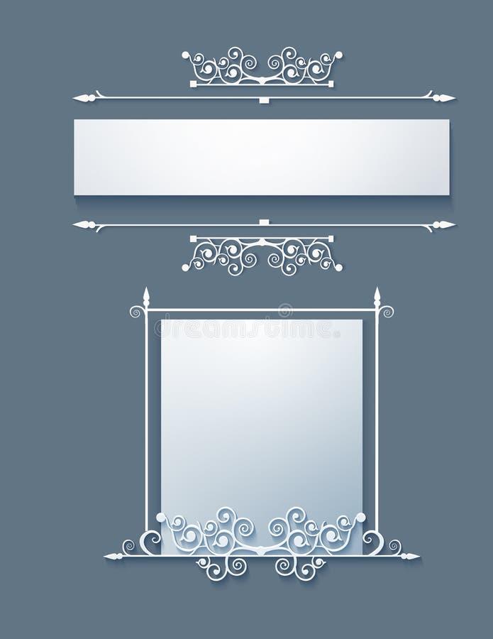 Quadro decorativo com rolos Vetor ilustração stock