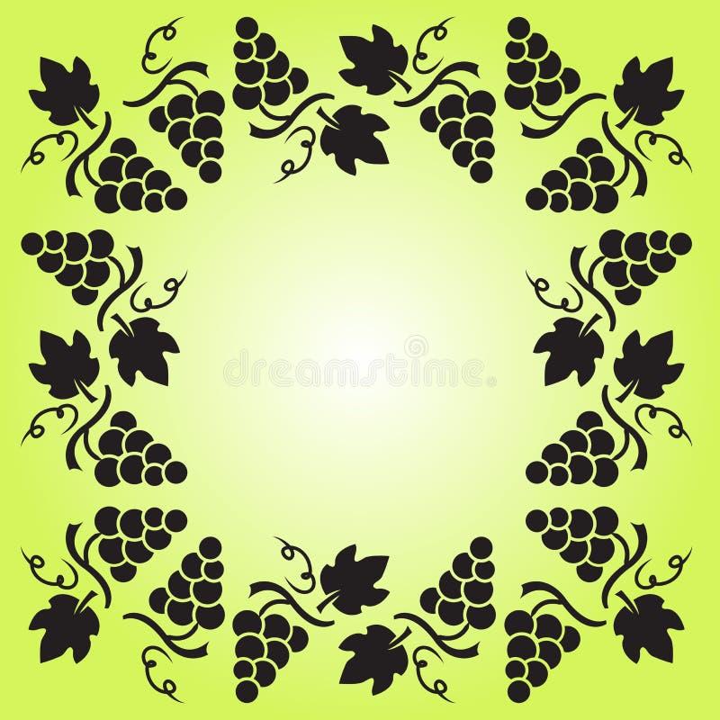 Quadro decorativo com vinha, uvas e folhas Ilustra??o do vetor ilustração stock