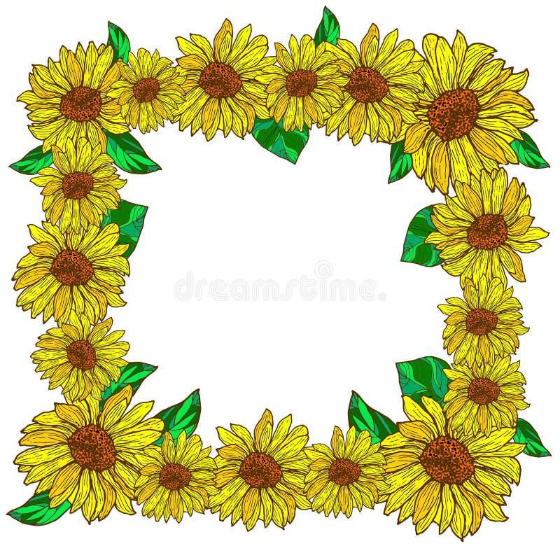 Quadro decorativo da flor com girassóis ilustração stock