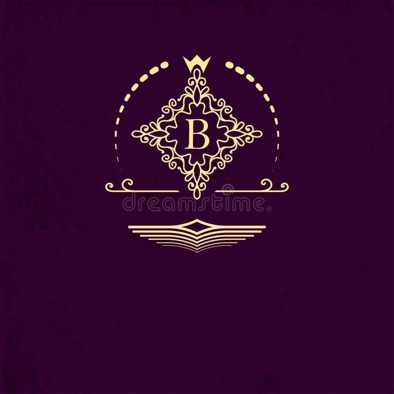 Quadro decorativo do emblema dourado em torno da letra B Elementos do projeto do monograma, molde extravagante Projeto simples do ilustração royalty free