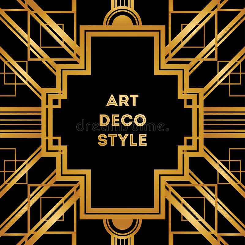 Quadro decorativo do vintage de Art Deco Molde retro do projeto de cartão ilustração royalty free
