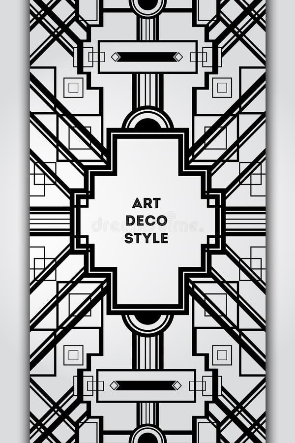 Quadro decorativo do vintage de Art Deco Temp retro do vetor do projeto de cartão ilustração do vetor