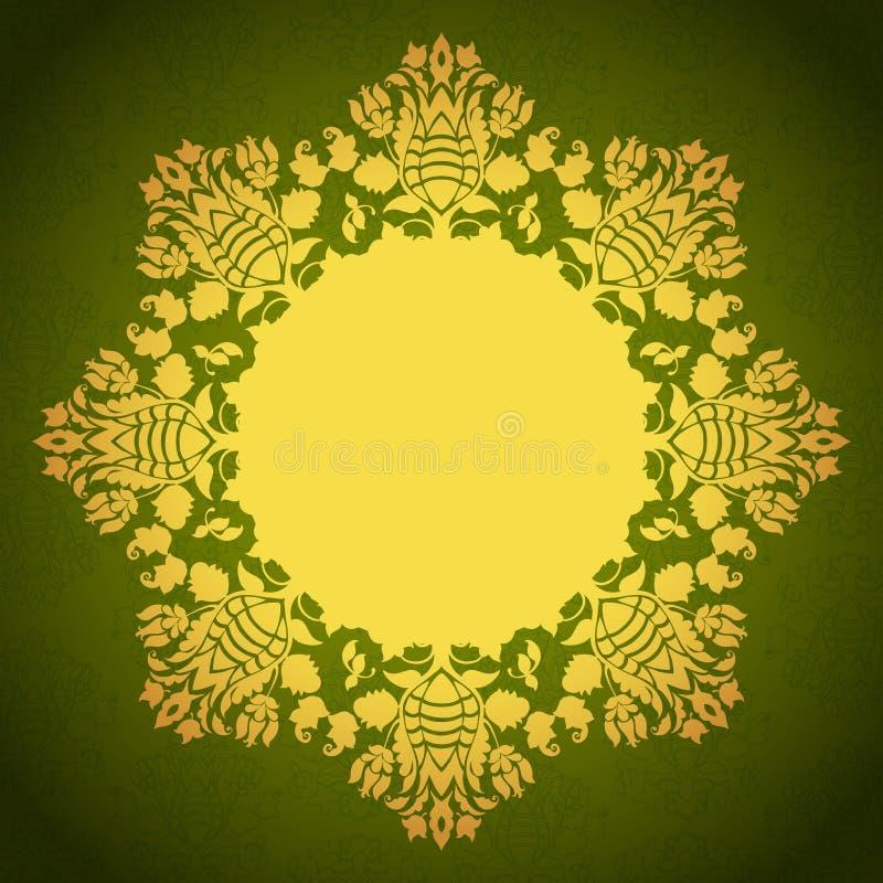 Quadro decorativo floral redondo ilustração do vetor