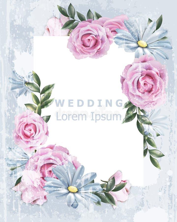 Quadro delicado do vintage com vetor cor-de-rosa das flores Decoração floral do convite do casamento Efeito velho do Grunge ilust ilustração royalty free