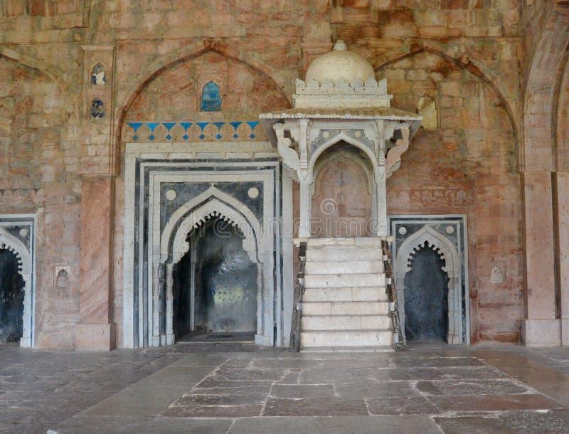 Quadro di comando o Minbar a Jami Mosque Mandav fotografia stock