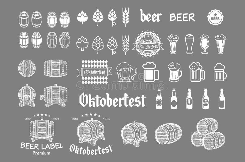 Quadro do ícone da cerveja ajustado - etiquetas, cartazes, sinais, bandeiras, símbolos do projeto do vetor ilustração stock