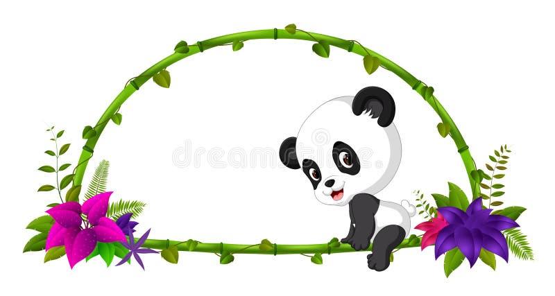 Quadro do bambu e da panda do bebê ilustração royalty free