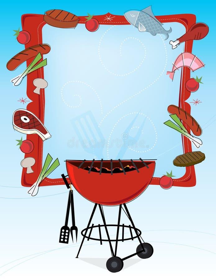 quadro do BBQ do Retro-estilo ilustração do vetor
