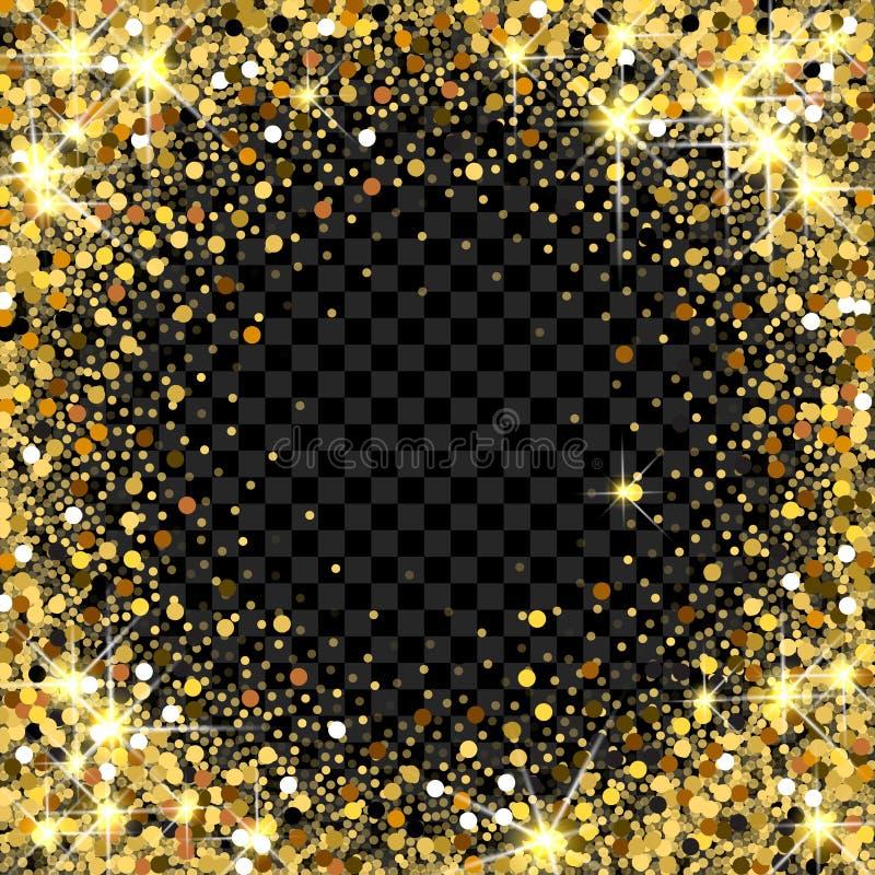 Quadro do brilho do ouro com espaço vazio para o texto Confetes dourados dispersados Pontos redondos dourados Ouro de brilho bril ilustração royalty free