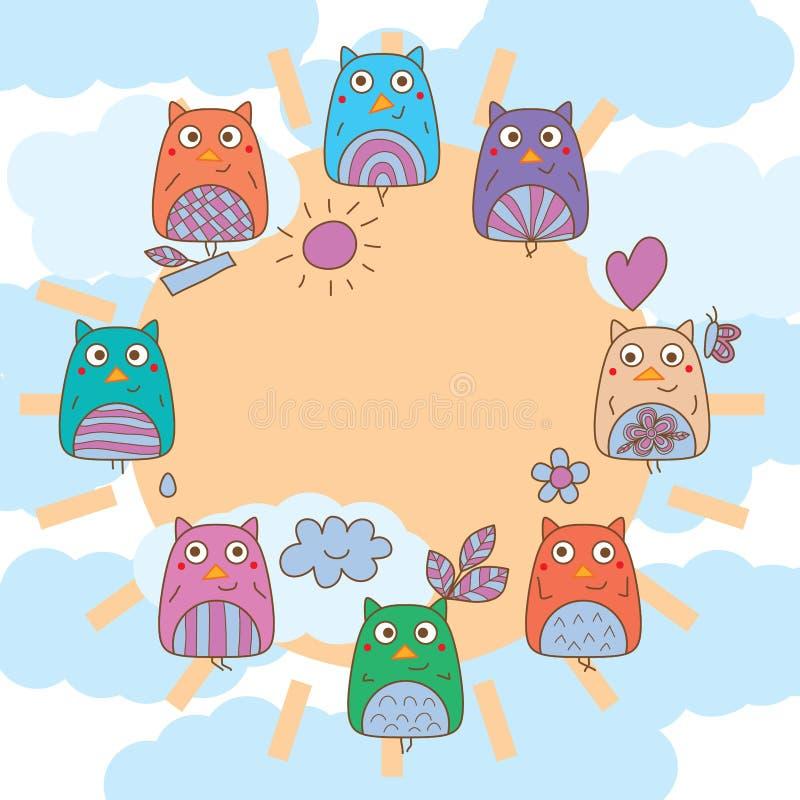 Quadro do céu do sol do círculo da asa da mão da coruja ilustração stock
