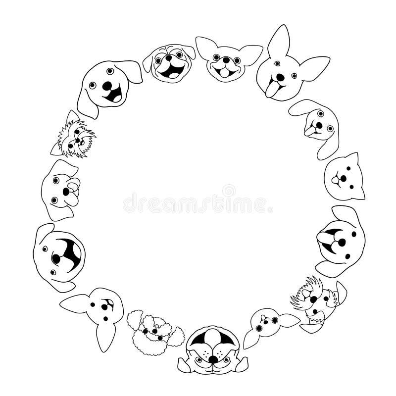 Quadro do círculo da cara do cão ilustração royalty free