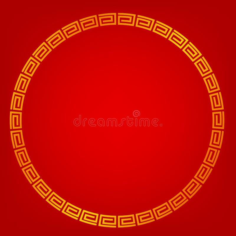 Quadro do círculo, estilo dourados da porcelana, para o certificado, o cartaz, o contexto, e o outro, fundo gradual vermelho ilustração stock