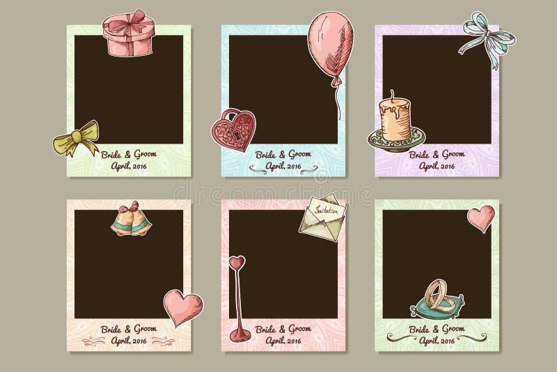 Quadro do casamento do projeto Quadros decorativos da foto para o dia de Valentim Ilustração de Vecotr ilustração royalty free