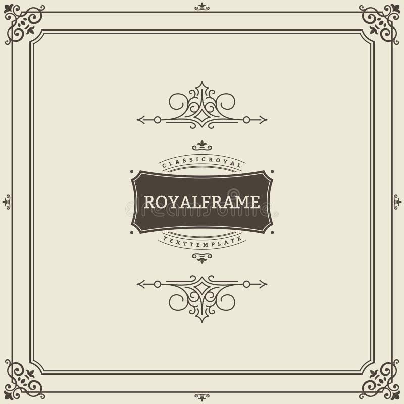Quadro do convite Molde do vetor do cartão do ornamento do vintage Convites retros, propaganda ou outro do casamento projeto ilustração royalty free