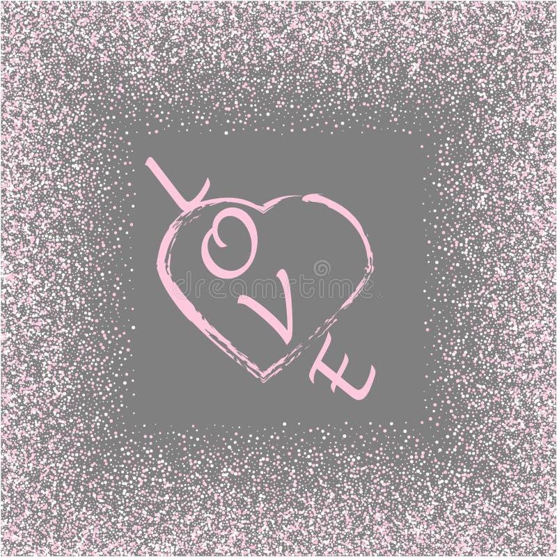Quadro do coração do brilho do ouro de Rosa Seja meu Valentim Beira cor-de-rosa no cinza Cartão do dia de Valentim do vetor, conv ilustração do vetor