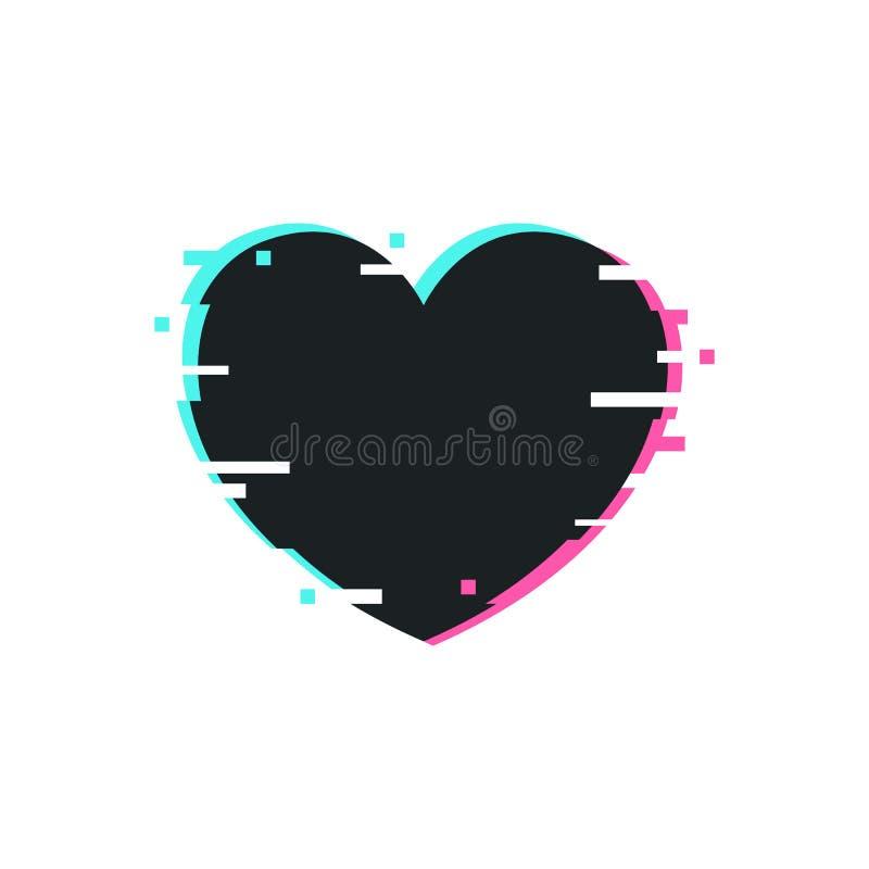 Quadro do coração da distorção de Glitched Ilustração do vetor com copyspace ilustração stock