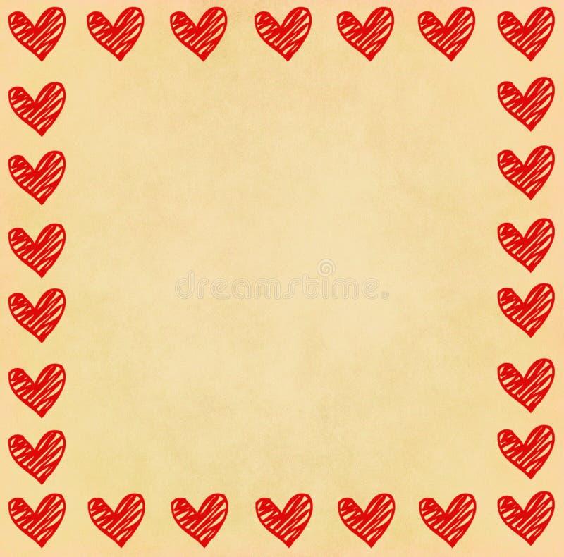 Quadro do coração da escrita no papel ilustração stock
