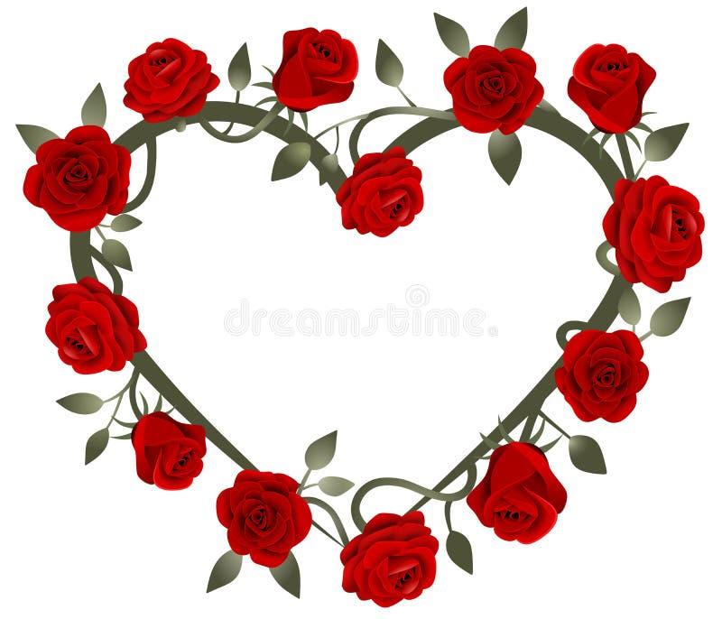 quadro do coração das rosas vermelhas ilustração royalty free