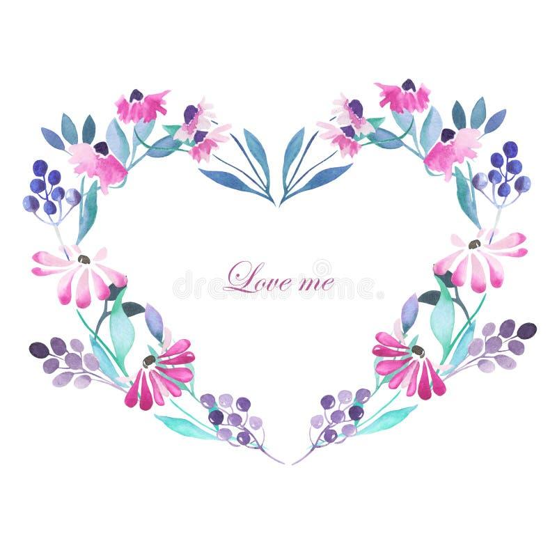 Quadro do coração, grinalda de flores roxas ilustração do vetor