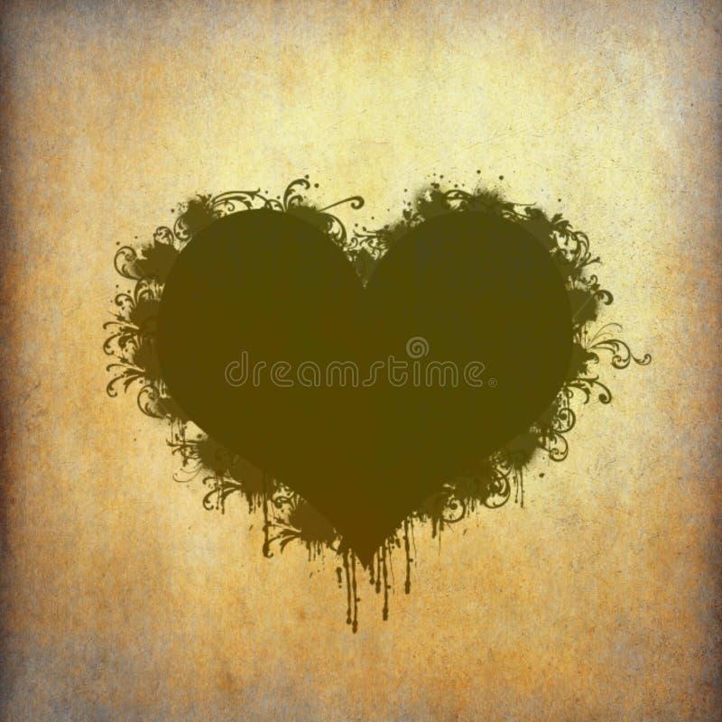 Quadro do coração manchado no papel velho ilustração stock