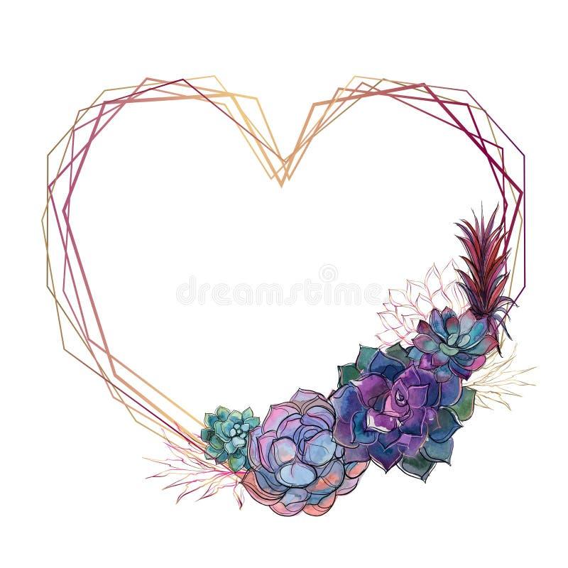 Quadro do coração do ouro com plantas carnudas valentine watercolor gráficos Vetor ilustração stock