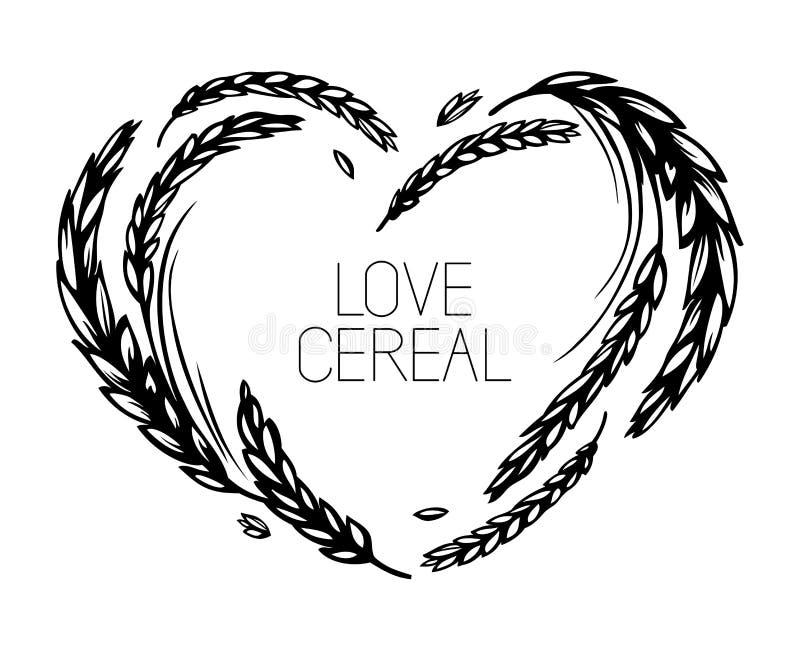 Quadro do coração do trigo e do malte Cereal do amor ilustração royalty free