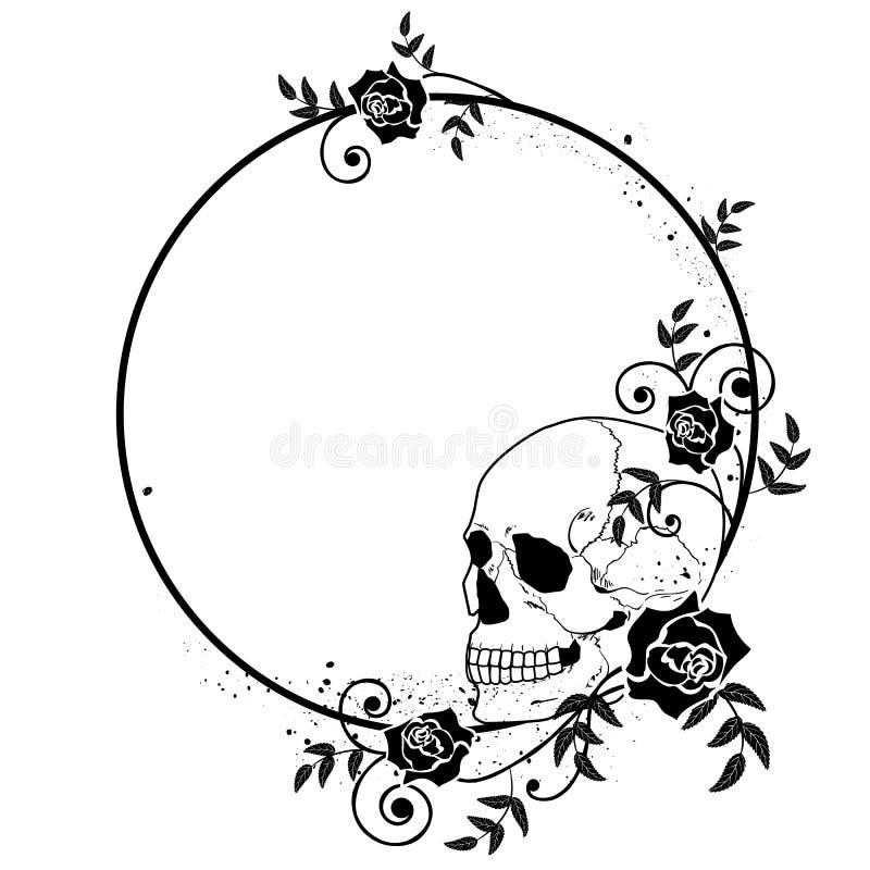 Quadro do crânio e das rosas ilustração do vetor