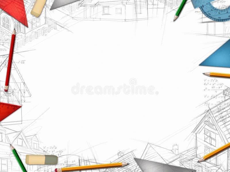 Quadro do desktop do desenhista do arquiteto isolado no branco ilustração do vetor