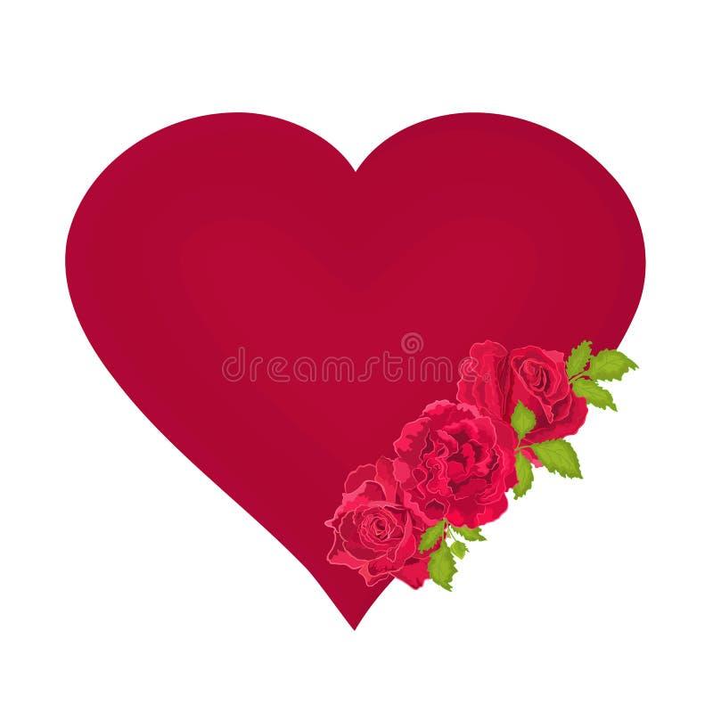 Quadro do dia de são valentim do coração com vetor dourado do fundo da fita ilustração stock