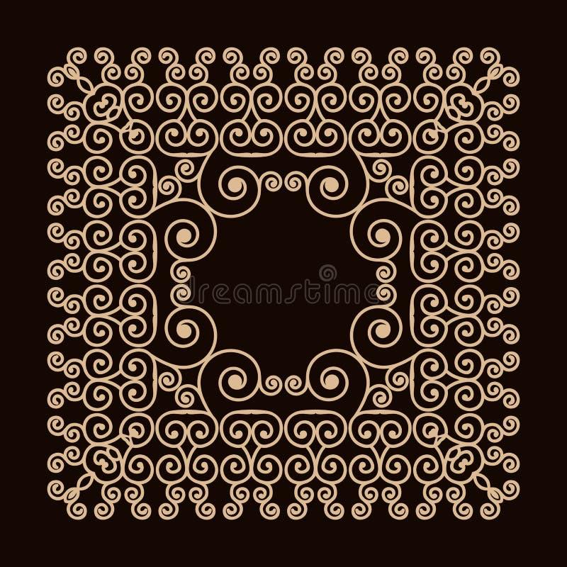 Quadro do esboço com redemoinhos Mono linha moldes do projeto gráfico Ouro em um fundo escuro ilustração do vetor