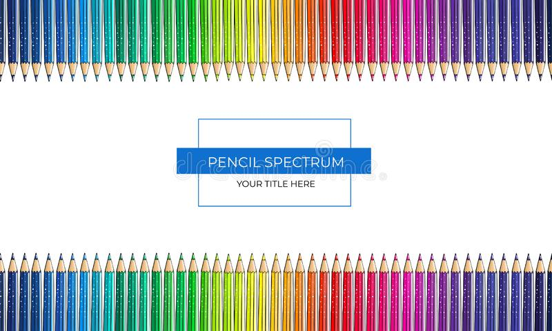 Quadro do espectro de cor dos lápis em um fundo branco ilustração royalty free