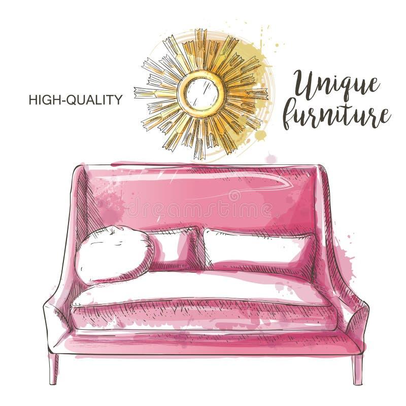 Quadro do espelho do sofá ilustração royalty free