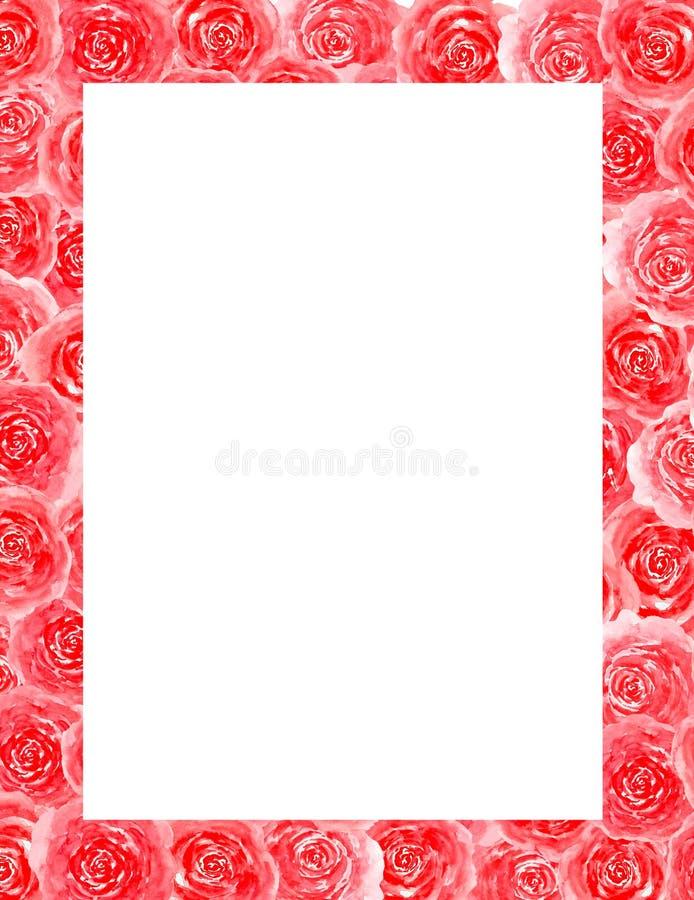 Quadro do feriado do convite da decoração das felicitações do cartão da aquarela das rosas das flores ilustração royalty free