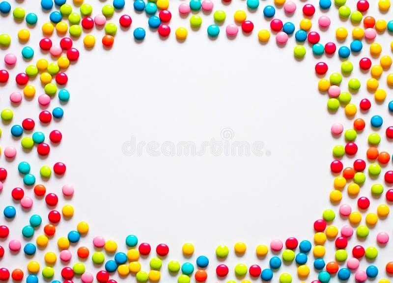 Quadro do feriado de drageias doces coloridos dos doces fotografia de stock royalty free