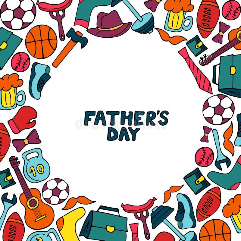 Quadro do feriado do dia do pai s no estilo da garatuja Estilo de vida dos homens s, material desportivo, acessórios do nd da rou ilustração do vetor