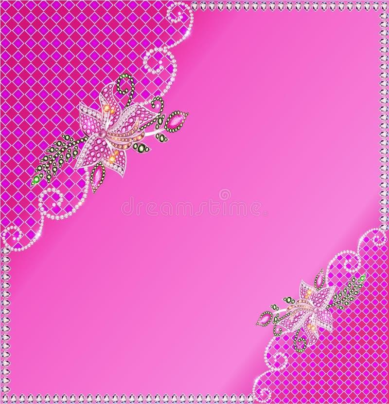 Quadro do fundo com as flores feitas de pedras preciosas e ilustração royalty free