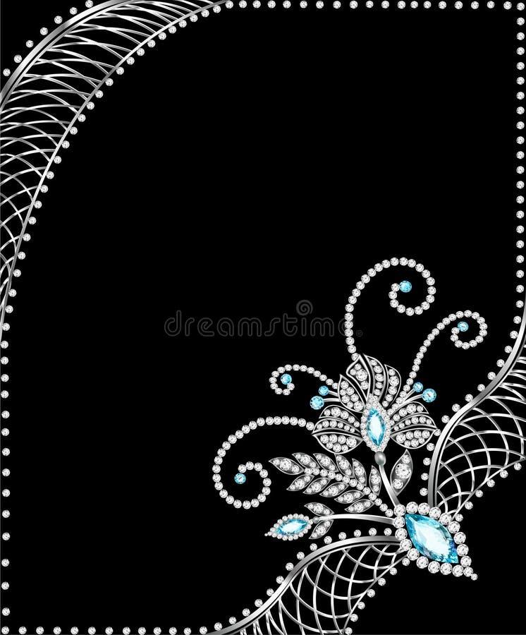 Quadro do fundo com as joias dos ornamento de prata ilustração royalty free