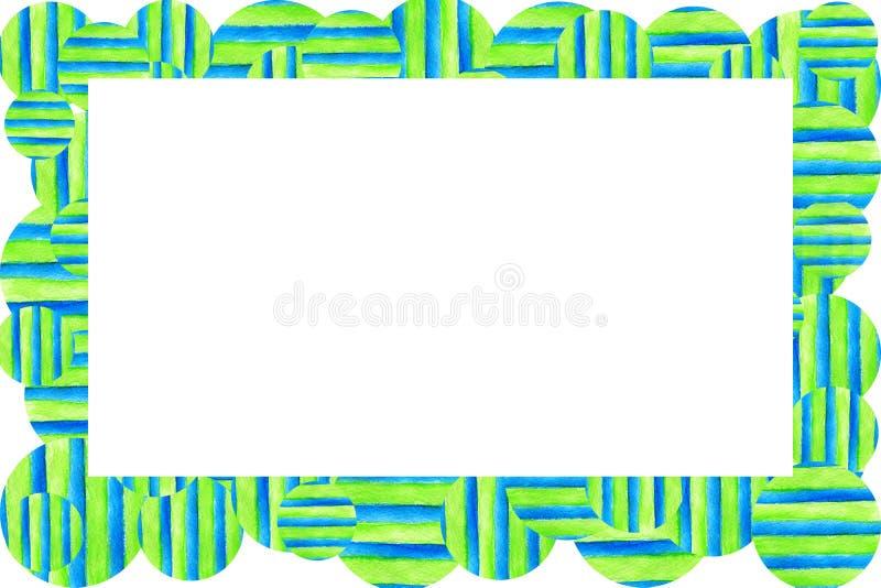 Quadro do fundo da textura da aquarela Listras e c?rculos coloridos tirados m?o fotografia de stock