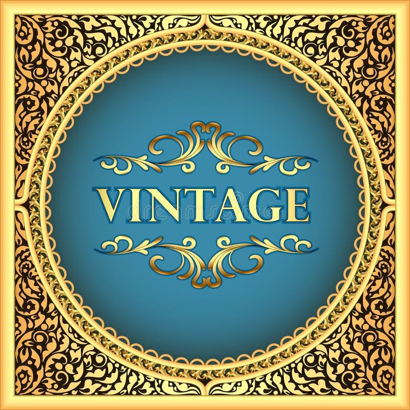 quadro do fundo do vintage com um teste padrão floral do ouro ilustração do vetor