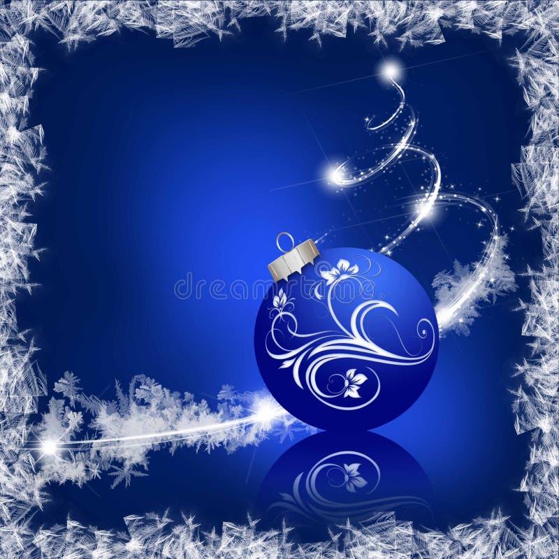 Quadro do gelo com bola do Natal ilustração do vetor