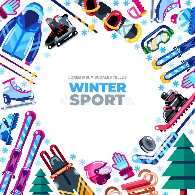 Quadro do inverno com fundo branco Stu exterior da atividade de lazer ilustração royalty free