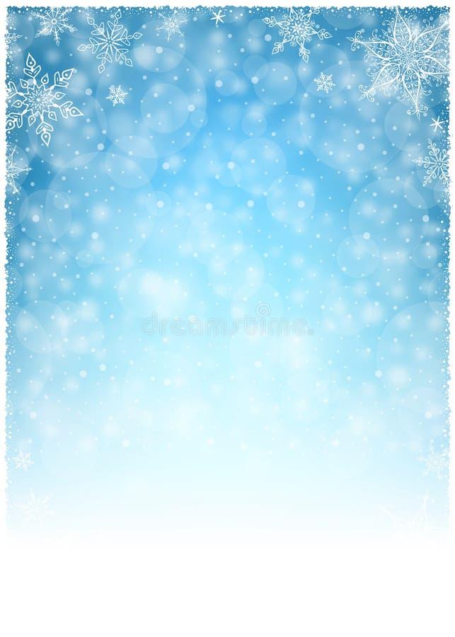 Quadro do inverno do Natal - ilustração Azul branco do Natal - retrato vazio do fundo ilustração do vetor