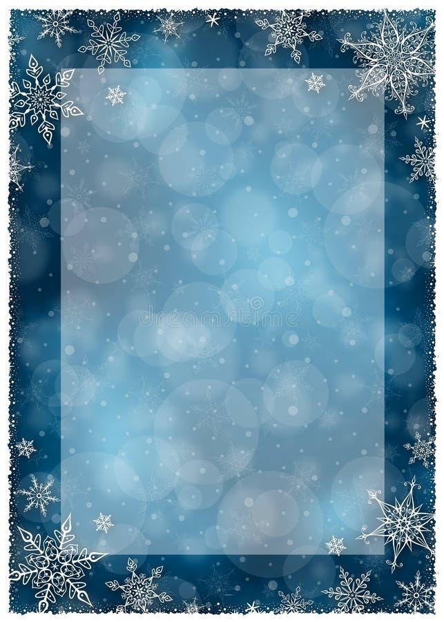 Quadro do inverno do Natal - ilustração Obscuridade do Natal - azul - retrato vazio do quadro ilustração do vetor