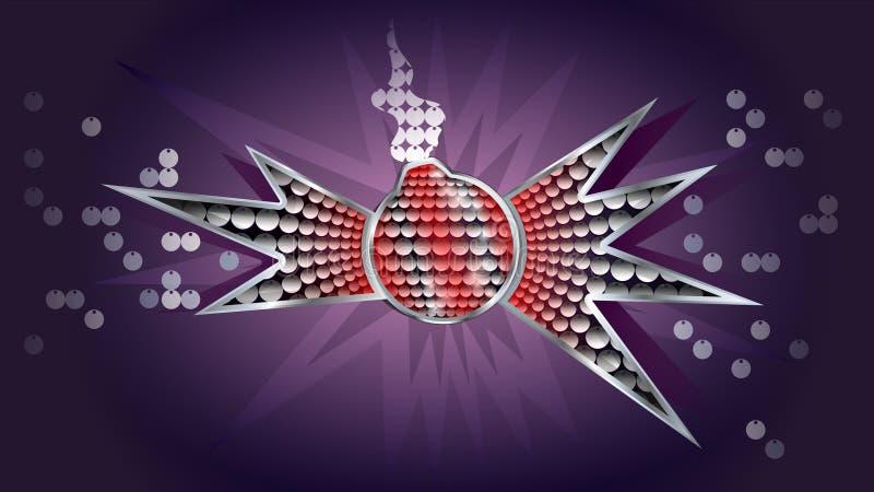 Quadro do metal da bomba com lantejoulas ilustração royalty free
