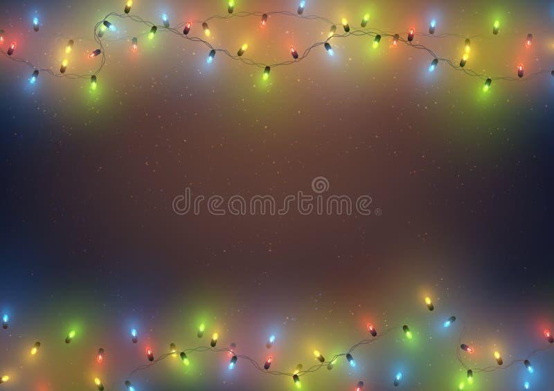 Quadro do molde do fundo com luzes conduzidas coloridas festão, Natal, ano novo, feriado, ilustração do vetor ilustração do vetor