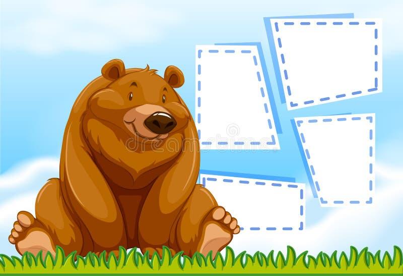 Quadro do molde do urso de Brown ilustração stock