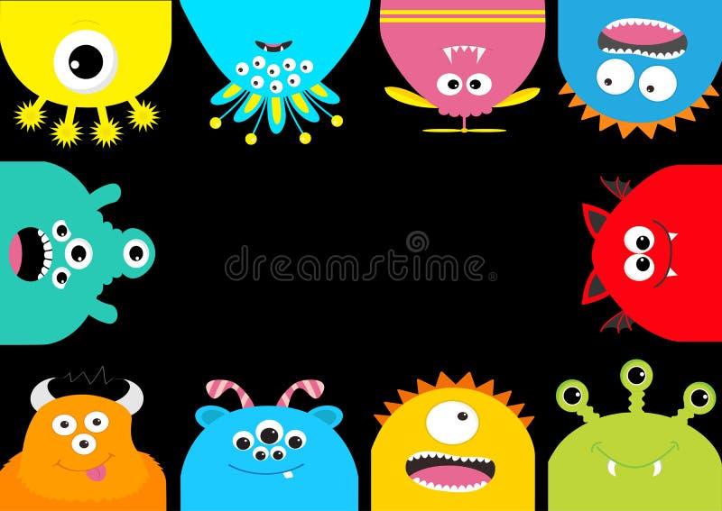 Quadro do monstro Jogo de caracteres assustador dos desenhos animados bonitos Emoção diferente Coleção do bebê Fundo preto Dia da ilustração do vetor
