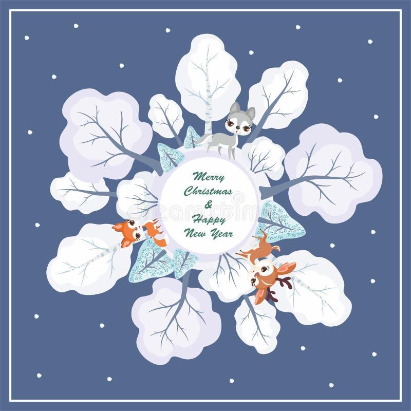 Quadro do Natal com animais ilustração do vetor