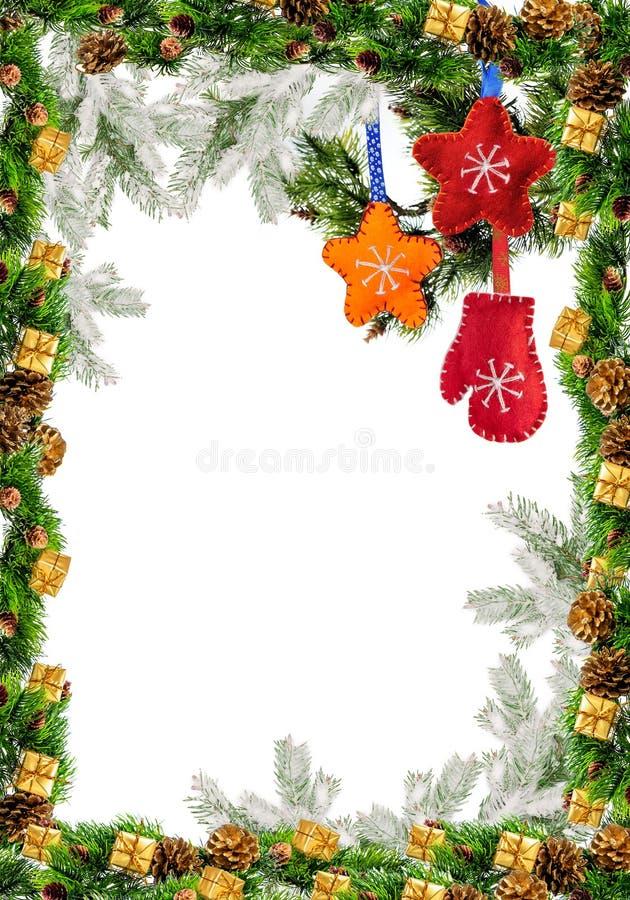 Quadro do Natal com Holly Decoration para o cartão fotos de stock